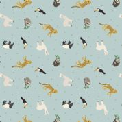 Lewis & Irene - Small Things World Animals - 6888 - South American, Blue - SM26.1 - Cotton Fabric